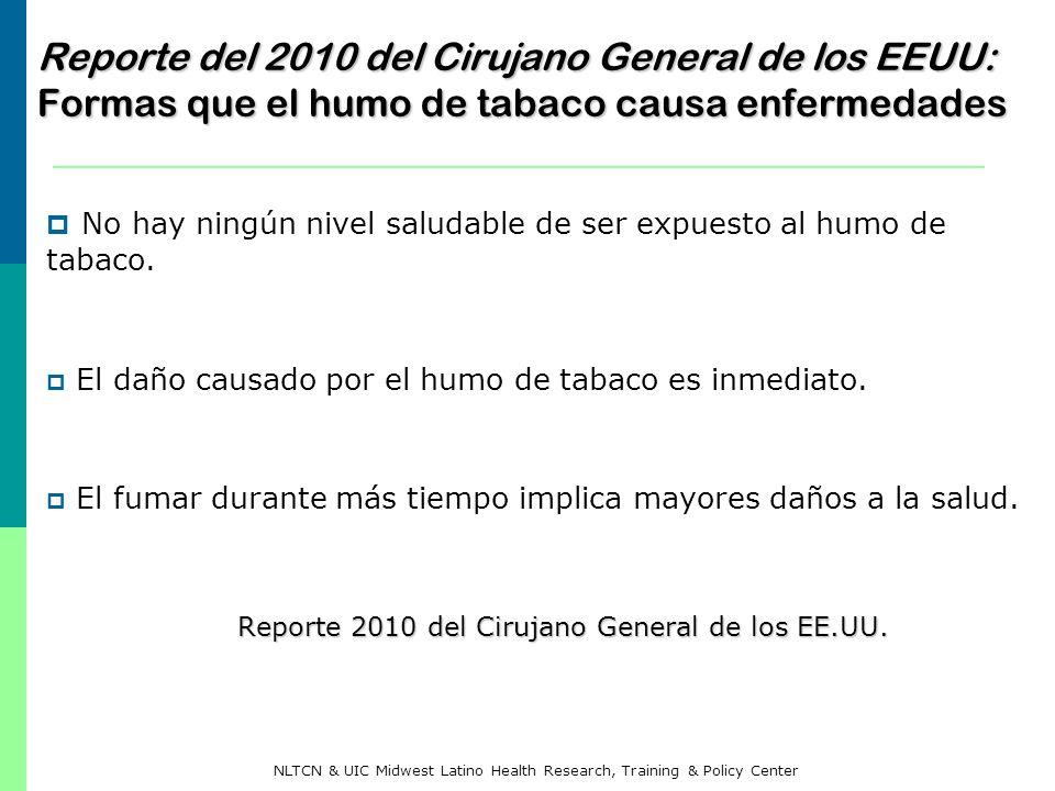Reporte del 2010 del Cirujano General de los EEUU: Formas que el humo de tabaco causa enfermedades No hay ningún nivel saludable de ser expuesto al hu