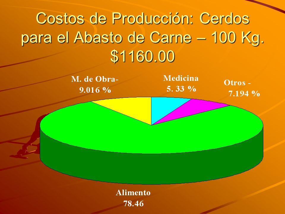 Costos de Producción: Cerdos para el Abasto de Carne – 100 Kg. $1160.00