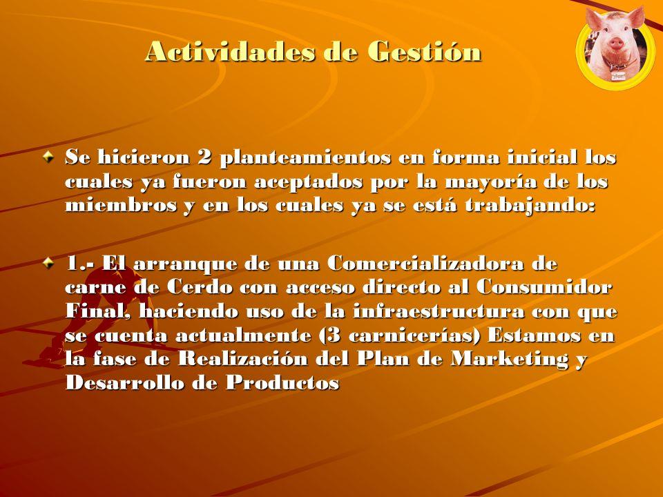 Actividades de Gestión Se hicieron 2 planteamientos en forma inicial los cuales ya fueron aceptados por la mayoría de los miembros y en los cuales ya