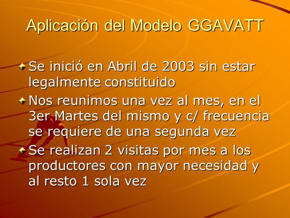 Aplicación del Modelo GGAVATT Se inició en Abril de 2003 sin estar legalmente constituido Nos reunimos una vez al mes, en el 3er Martes del mismo y c/