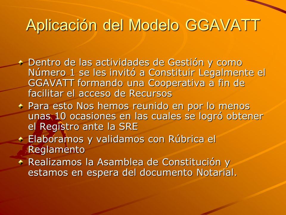 Aplicación del Modelo GGAVATT Dentro de las actividades de Gestión y como Número 1 se les invitó a Constituir Legalmente el GGAVATT formando una Coope