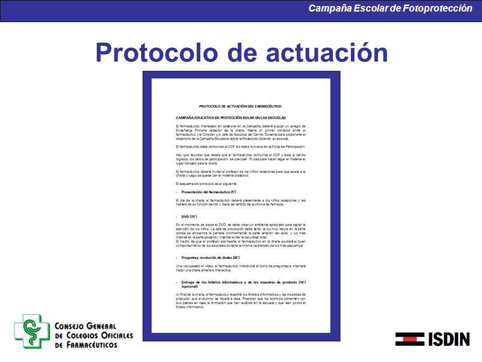 Campaña Escolar de Fotoprotección Protocolo de actuación