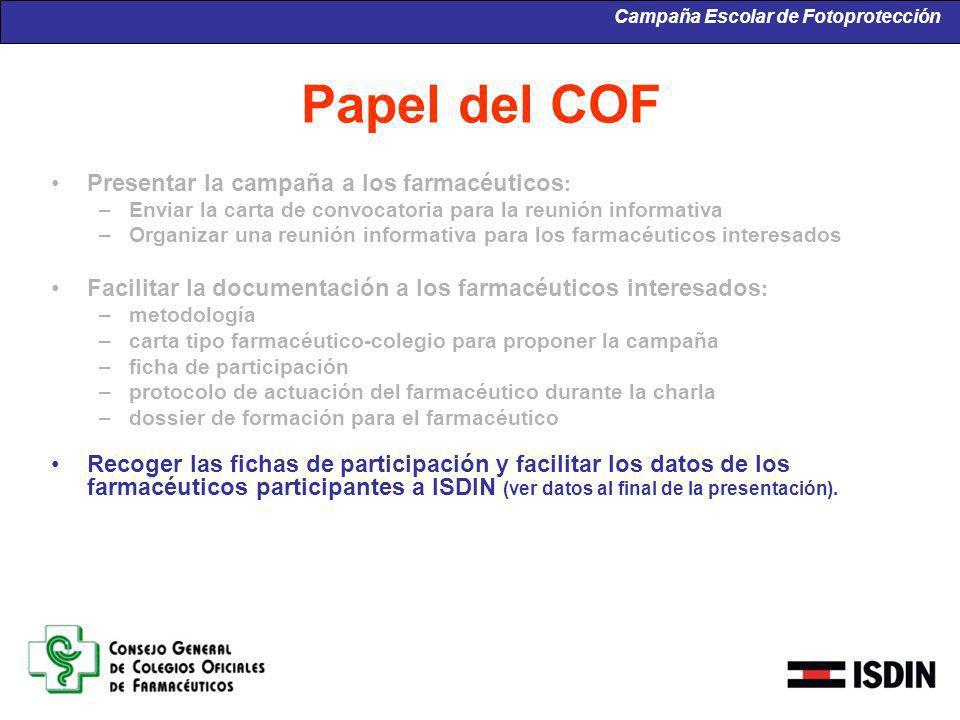 Papel del COF Presentar la campaña a los farmacéuticos : –Enviar la carta de convocatoria para la reunión informativa –Organizar una reunión informati