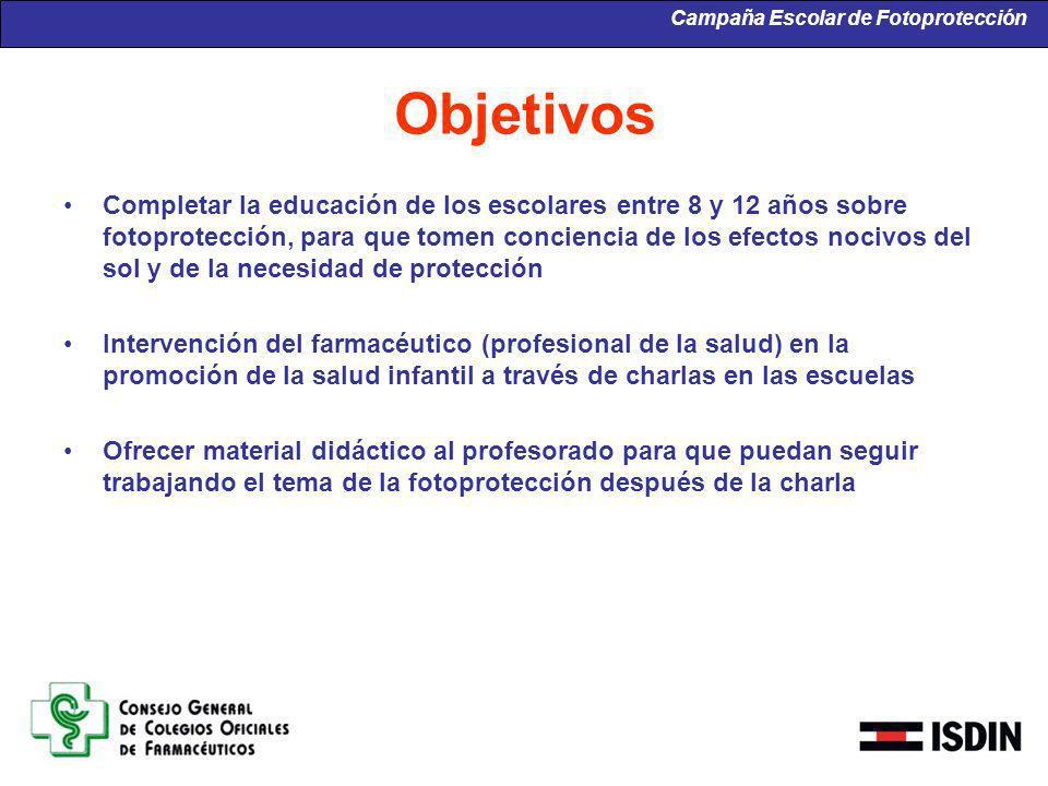 Objetivos Completar la educación de los escolares entre 8 y 12 años sobre fotoprotección, para que tomen conciencia de los efectos nocivos del sol y d