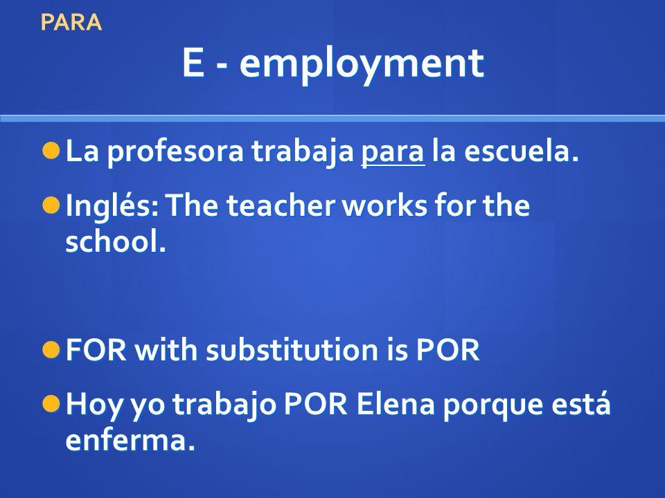 E - employment La profesora trabaja para la escuela. La profesora trabaja para la escuela. Inglés: The teacher works for the school. Inglés: The teach