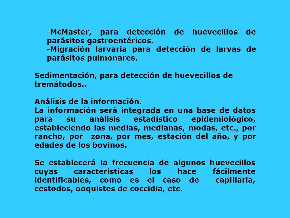 -McMaster, para detección de huevecillos de parásitos gastroentéricos. -Migración larvaria para detección de larvas de parásitos pulmonares. Sedimenta
