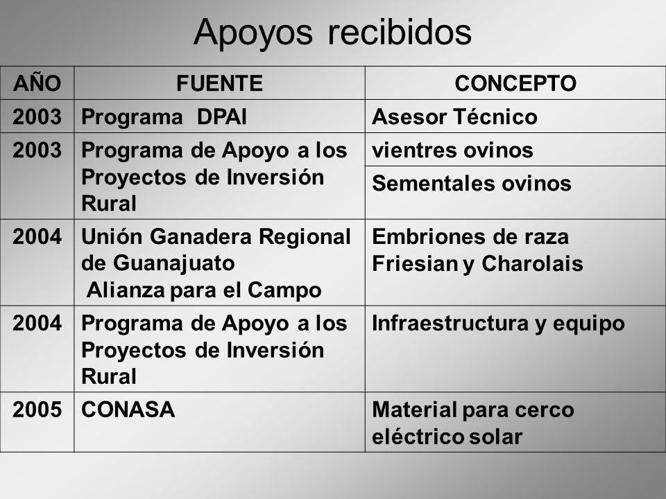 Apoyos recibidos AÑOFUENTECONCEPTO 2003Programa DPAIAsesor Técnico 2003Programa de Apoyo a los Proyectos de Inversión Rural vientres ovinos Sementales