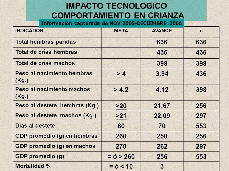 IMPACTO TECNOLOGICO COMPORTAMIENTO PRODUCTIVO Pruebas de comportamiento con diferentes dietasElviraJuanManuelOctavio No.