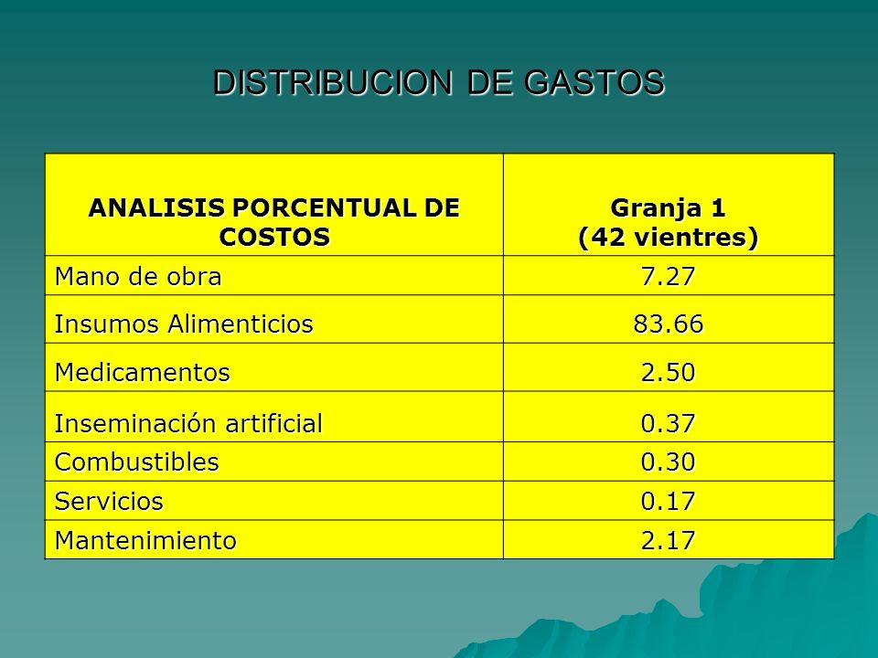DISTRIBUCION DE GASTOS ANALISIS PORCENTUAL DE COSTOS Granja 1 (42 vientres) Mano de obra 7.27 Insumos Alimenticios 83.66 Medicamentos2.50 Inseminación