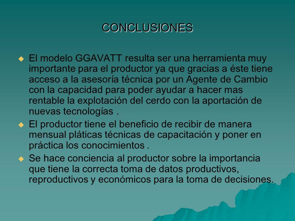 CONCLUSIONES El modelo GGAVATT resulta ser una herramienta muy importante para el productor ya que gracias a éste tiene acceso a la asesoría técnica p