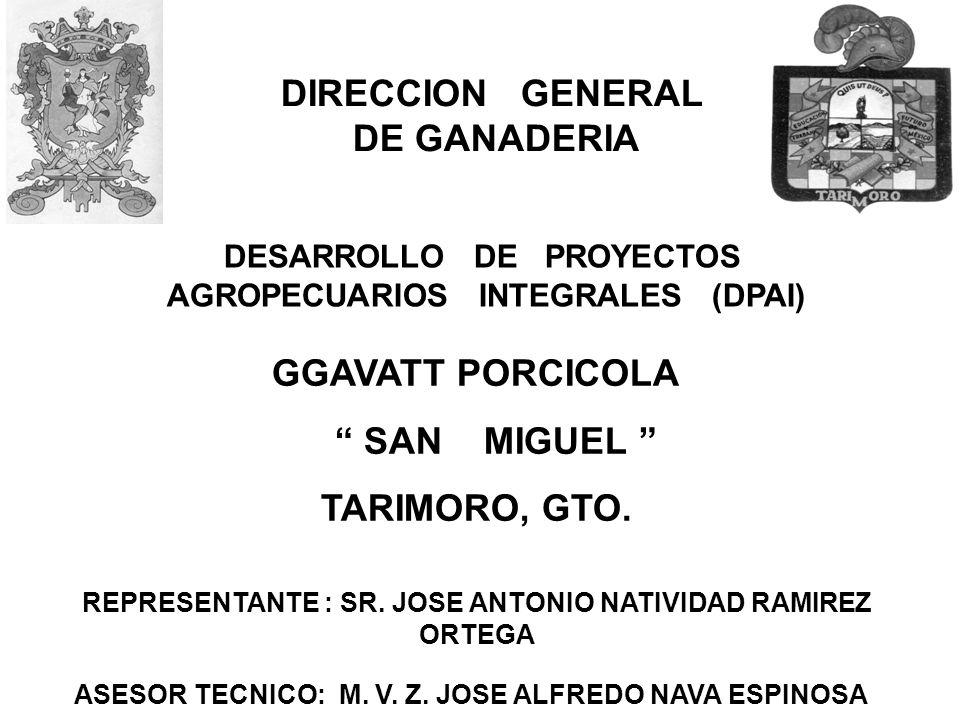 DIRECCION GENERAL DE GANADERIA DESARROLLO DE PROYECTOS AGROPECUARIOS INTEGRALES (DPAI) GGAVATT PORCICOLA SAN MIGUEL TARIMORO, GTO. REPRESENTANTE : SR.