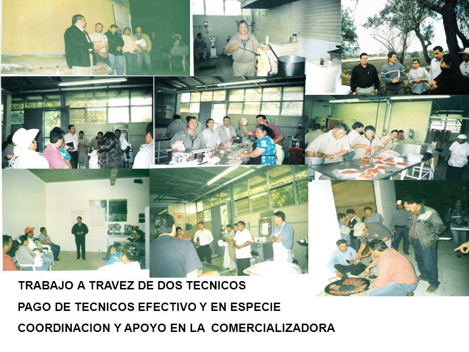 TRABAJO A TRAVEZ DE DOS TECNICOS PAGO DE TECNICOS EFECTIVO Y EN ESPECIE COORDINACION Y APOYO EN LA COMERCIALIZADORA