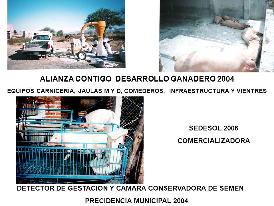 ALIANZA CONTIGO DESARROLLO GANADERO 2004 EQUIPOS CARNICERIA, JAULAS M Y D, COMEDEROS, INFRAESTRUCTURA Y VIENTRES DETECTOR DE GESTACION Y CAMARA CONSER