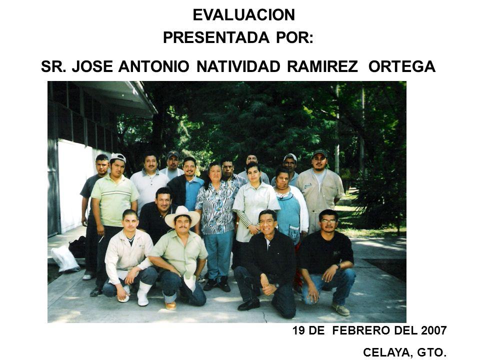 EVALUACION PRESENTADA POR: SR. JOSE ANTONIO NATIVIDAD RAMIREZ ORTEGA 19 DE FEBRERO DEL 2007 CELAYA, GTO.