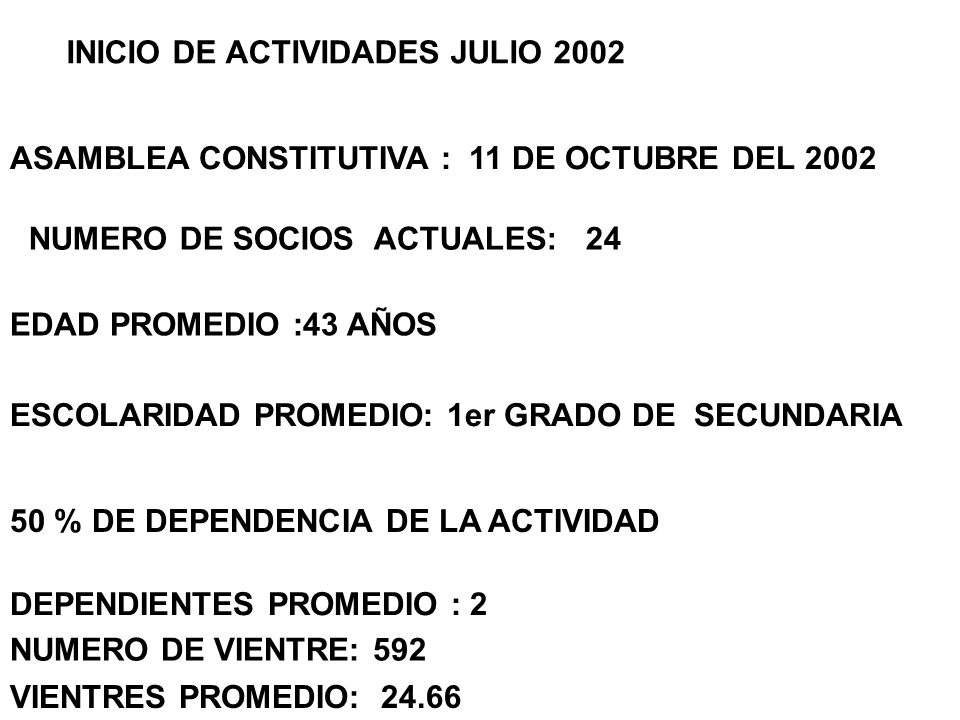 NUMERO DE SOCIOS ACTUALES: 24 EDAD PROMEDIO :43 AÑOS ESCOLARIDAD PROMEDIO: 1er GRADO DE SECUNDARIA 50 % DE DEPENDENCIA DE LA ACTIVIDAD DEPENDIENTES PR