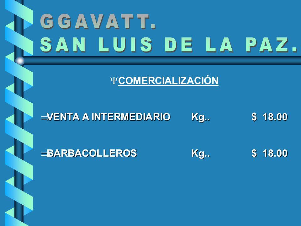 COMERCIALIZACIÓN VENTA A INTERMEDIARIO Kg.. $ 18.00 VENTA A INTERMEDIARIO Kg.. $ 18.00 BARBACOLLEROSKg..$ 18.00 BARBACOLLEROSKg..$ 18.00