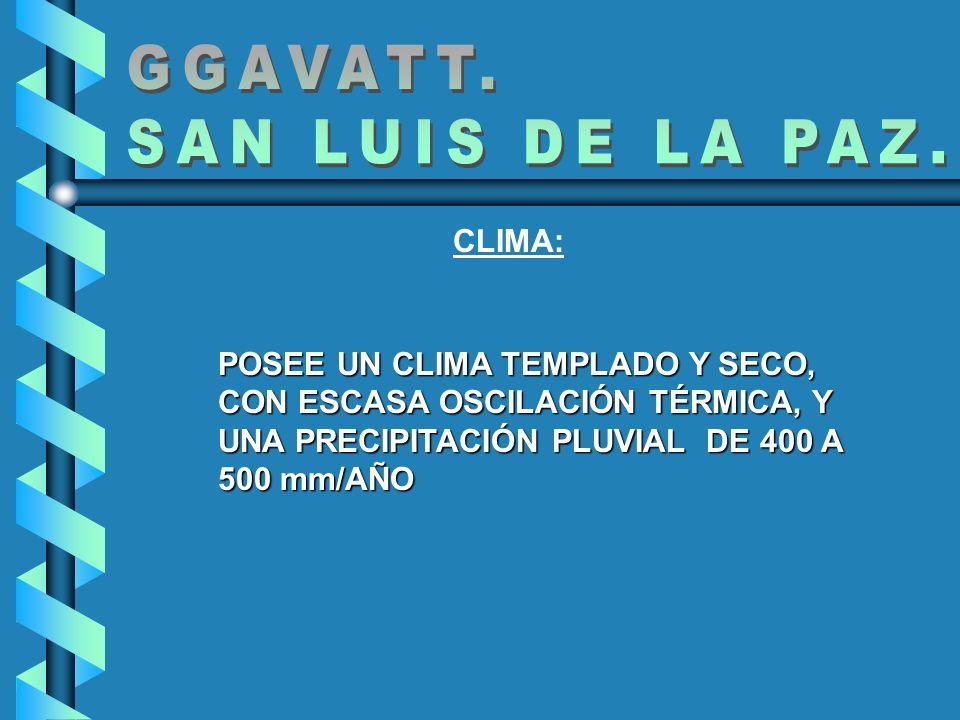 CLIMA: POSEE UN CLIMA TEMPLADO Y SECO, CON ESCASA OSCILACIÓN TÉRMICA, Y UNA PRECIPITACIÓN PLUVIAL DE 400 A 500 mm/AÑO