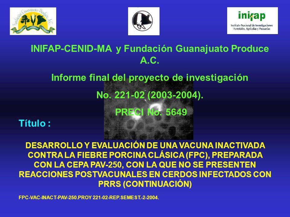 Título : DESARROLLO Y EVALUACIÓN DE UNA VACUNA INACTIVADA CONTRA LA FIEBRE PORCINA CLÁSICA (FPC), PREPARADA CON LA CEPA PAV-250, CON LA QUE NO SE PRES