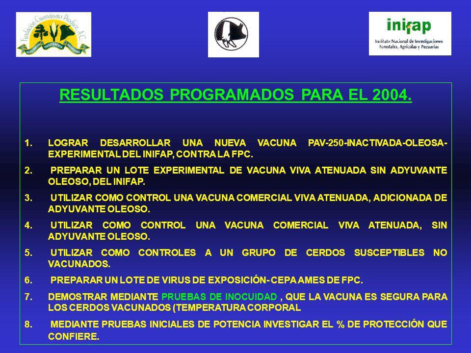RESULTADOS PROGRAMADOS PARA EL 2004. 1.LOGRAR DESARROLLAR UNA NUEVA VACUNA PAV-250-INACTIVADA-OLEOSA- EXPERIMENTAL DEL INIFAP, CONTRA LA FPC. 2. PREPA