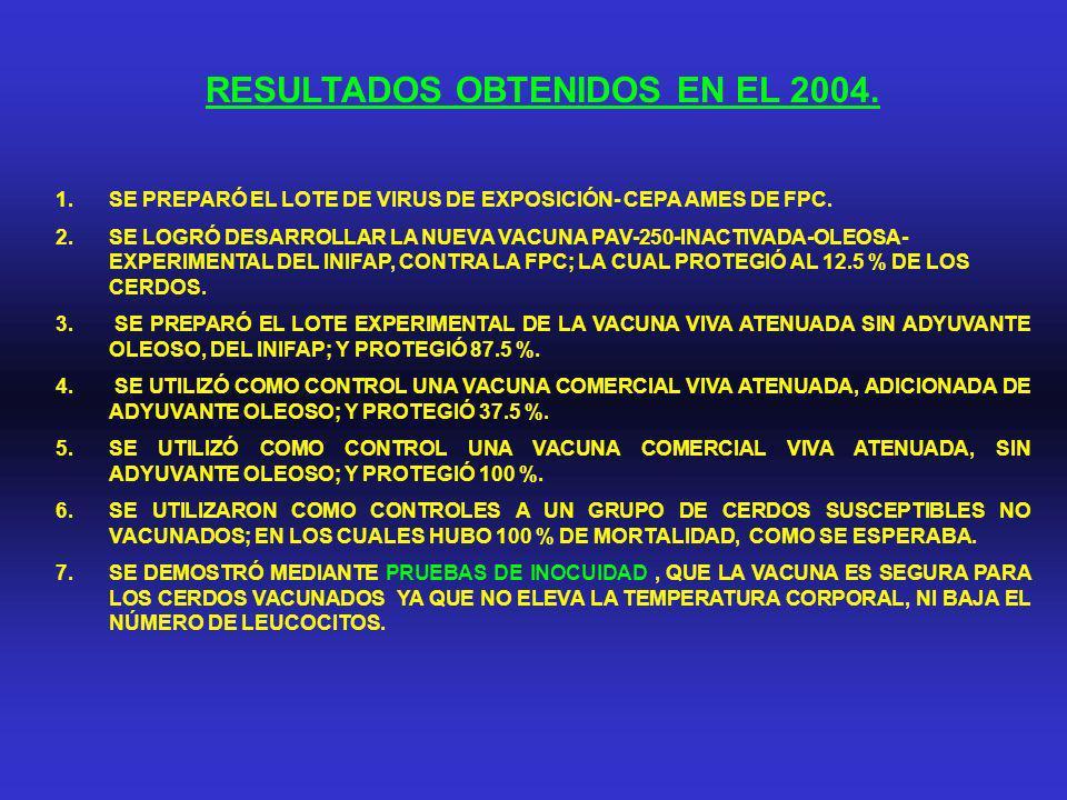 RESULTADOS OBTENIDOS EN EL 2004. 1.SE PREPARÓ EL LOTE DE VIRUS DE EXPOSICIÓN- CEPA AMES DE FPC. 2.SE LOGRÓ DESARROLLAR LA NUEVA VACUNA PAV-250-INACTIV