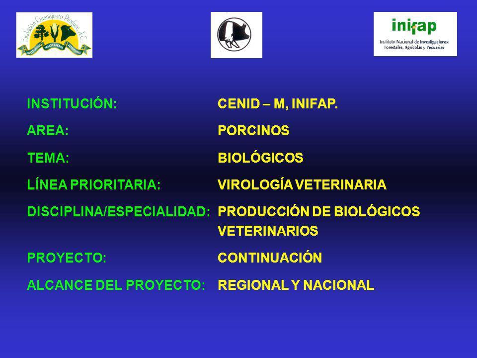 INSTITUCIÓN: CENID – M, INIFAP. AREA: PORCINOS TEMA: BIOLÓGICOS LÍNEA PRIORITARIA:VIROLOGÍA VETERINARIA DISCIPLINA/ESPECIALIDAD: PRODUCCIÓN DE BIOLÓGI
