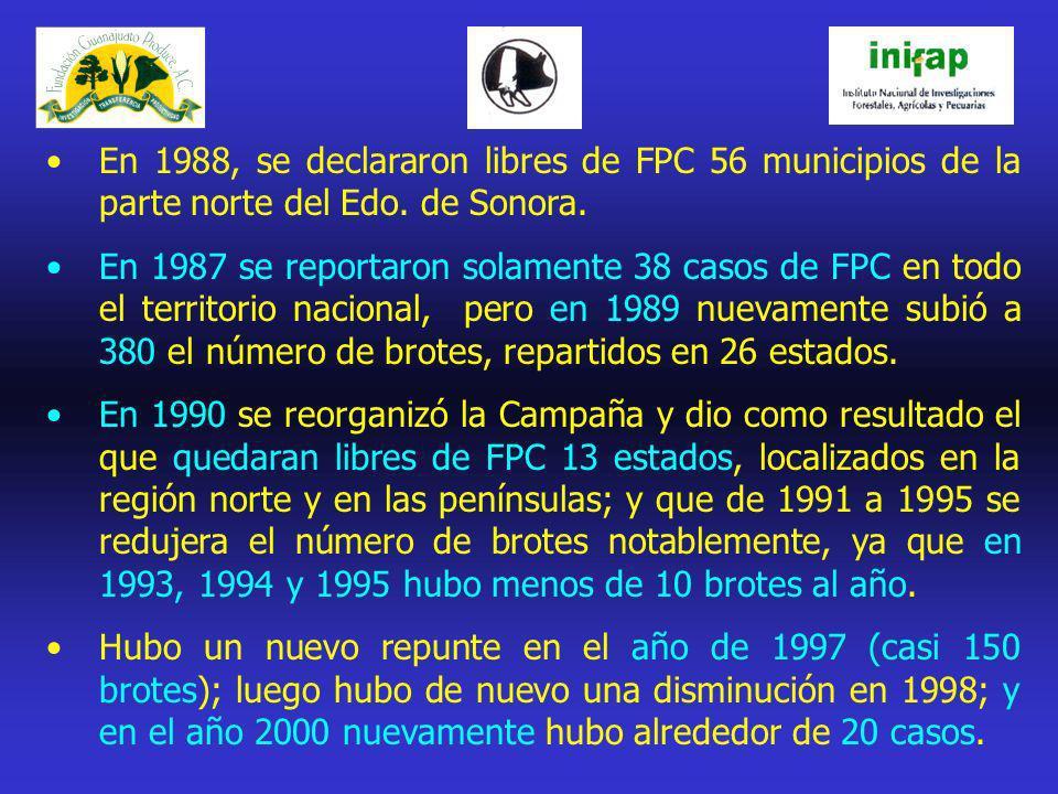 En 1988, se declararon libres de FPC 56 municipios de la parte norte del Edo. de Sonora. En 1987 se reportaron solamente 38 casos de FPC en todo el te