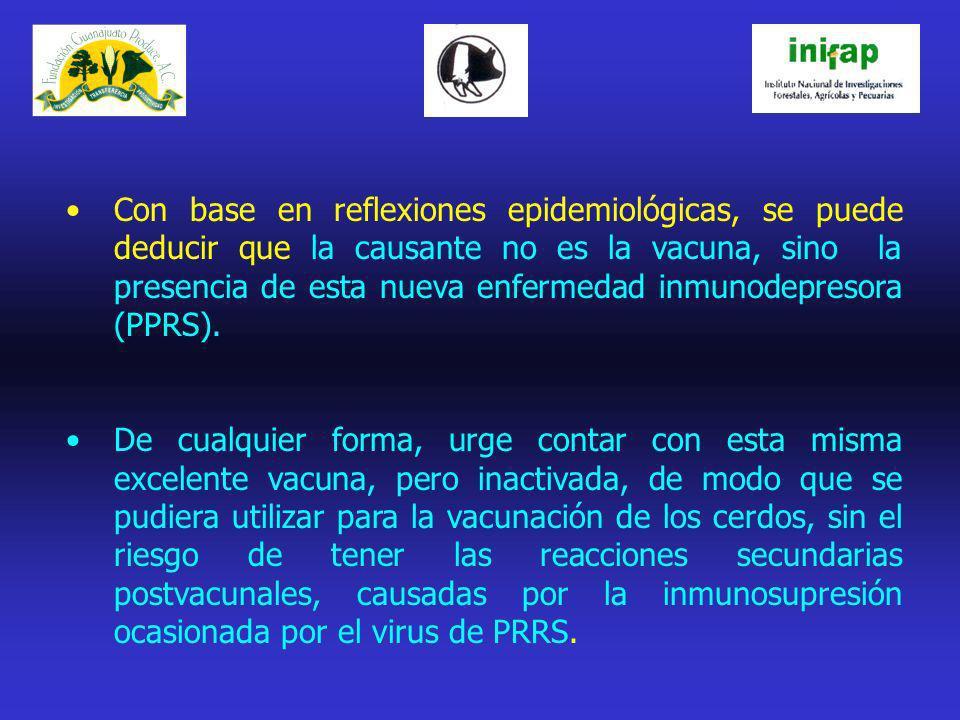 JUSTIFICACIÓN: Al contar con una vacuna de virus inactivado, efectiva para prevención de la FPC, se evitará el que se propicien las reacciones postvacunales, supuestamente producidas por esta misma vacuna en su presentación viva atenuada.