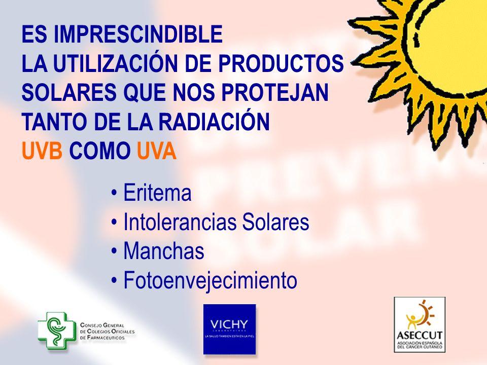 Eritema Intolerancias Solares Manchas Fotoenvejecimiento ES IMPRESCINDIBLE LA UTILIZACIÓN DE PRODUCTOS SOLARES QUE NOS PROTEJAN TANTO DE LA RADIACIÓN
