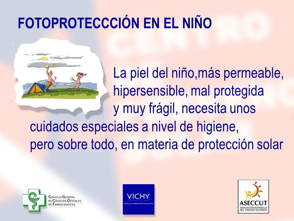 La piel del niño,más permeable, hipersensible, mal protegida y muy frágil, necesita unos FOTOPROTECCCIÓN EN EL NIÑO cuidados especiales a nivel de hig