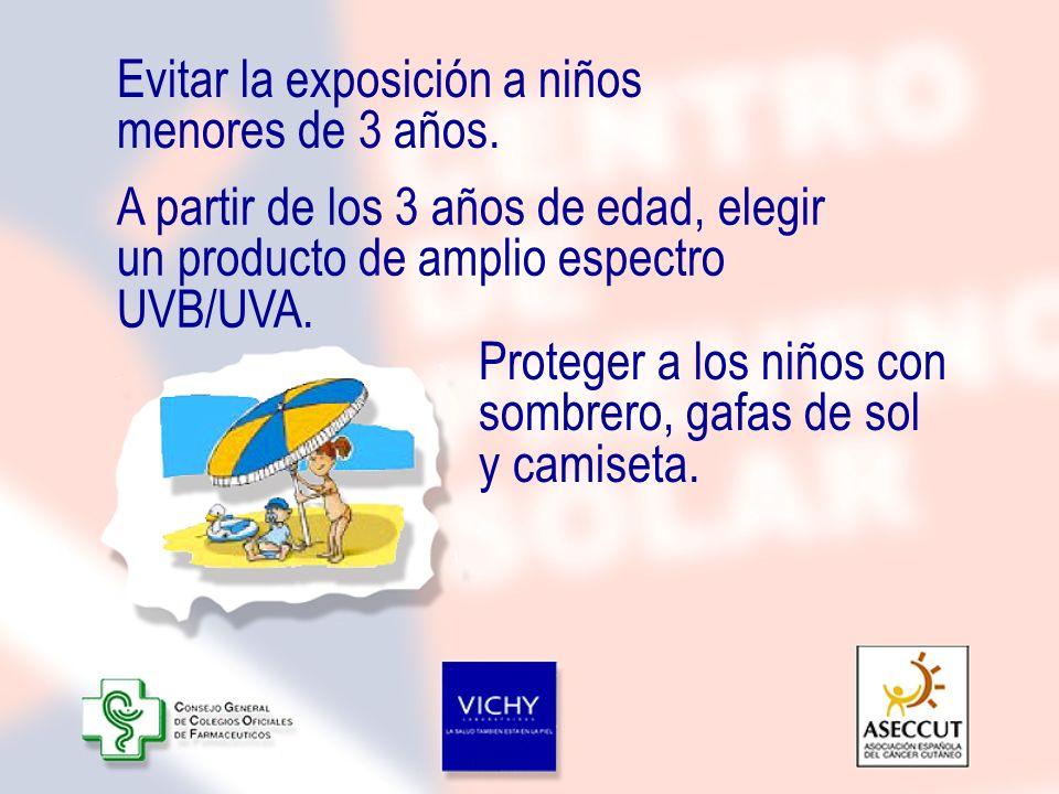 Evitar la exposición a niños menores de 3 años. A partir de los 3 años de edad, elegir un producto de amplio espectro UVB/UVA. Proteger a los niños co