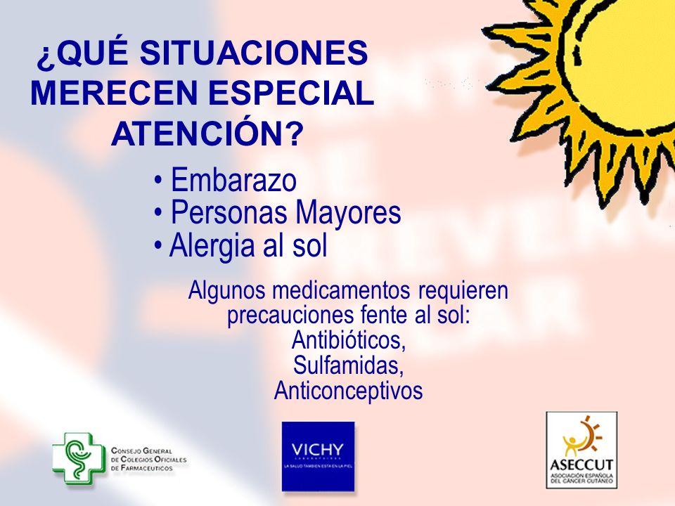 ¿QUÉ SITUACIONES MERECEN ESPECIAL ATENCIÓN? Embarazo Personas Mayores Alergia al sol Algunos medicamentos requieren precauciones fente al sol: Antibió