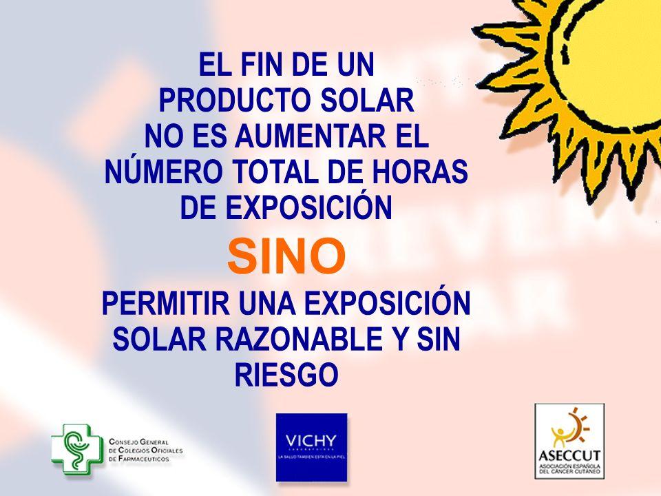 EL FIN DE UN PRODUCTO SOLAR NO ES AUMENTAR EL NÚMERO TOTAL DE HORAS DE EXPOSICIÓN PERMITIR UNA EXPOSICIÓN SOLAR RAZONABLE Y SIN RIESGO SINO