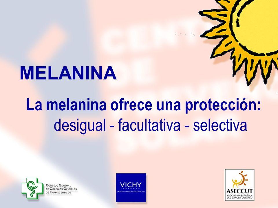La melanina ofrece una protección: desigual - facultativa - selectiva MELANINA