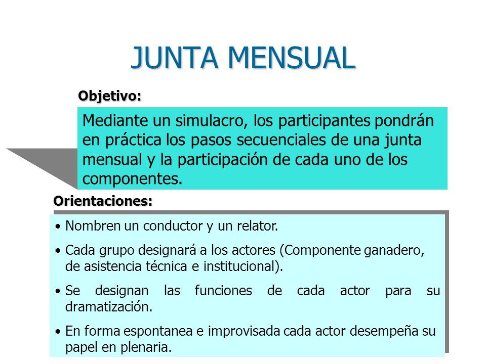 Mediante un simulacro, los participantes pondrán en práctica los pasos secuenciales de una junta mensual y la participación de cada uno de los componentes.