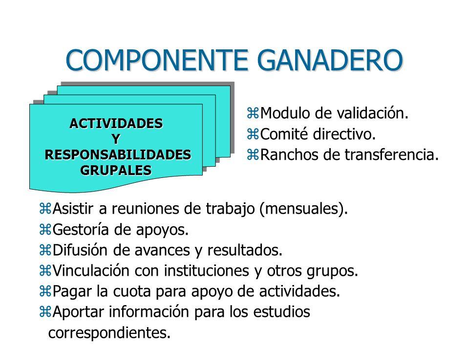 COMPONENTE GANADERO zAsistir a reuniones de trabajo (mensuales).