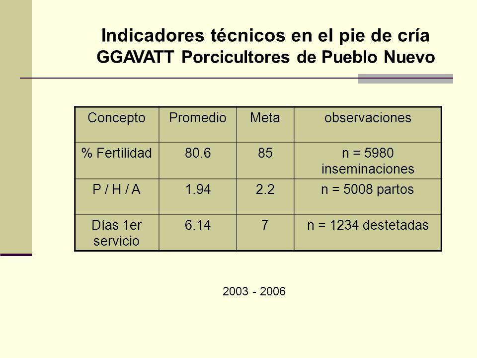 Indicadores técnicos en el pie de cría GGAVATT Porcicultores de Pueblo Nuevo ConceptoPromedioMetaobservaciones % Fertilidad80.685n = 5980 inseminacion