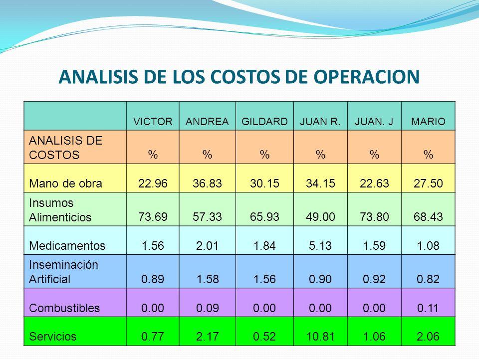 ANALISIS DE LOS COSTOS DE OPERACION VICTORANDREAGILDARDJUAN R.JUAN. JMARIO ANALISIS DE COSTOS%%% Mano de obra22.9636.8330.1534.1522.6327.50 Insumos Al