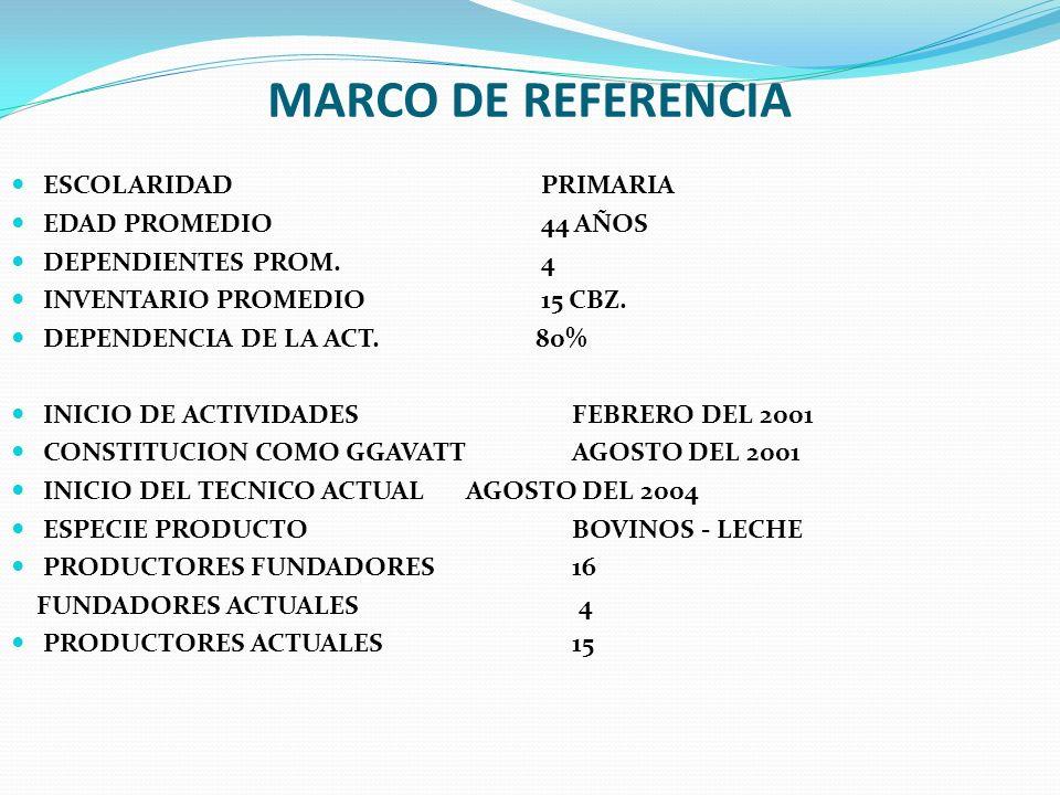 MARCO DE REFERENCIA ESCOLARIDAD PRIMARIA EDAD PROMEDIO 44 AÑOS DEPENDIENTES PROM. 4 INVENTARIO PROMEDIO15 CBZ. DEPENDENCIA DE LA ACT. 80% INICIO DE AC