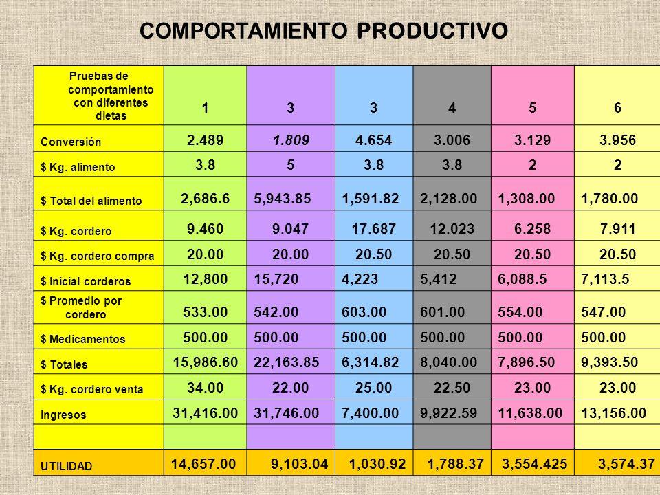 Pruebas de comportamiento con diferentes dietas 133456 Conversión 2.4891.8094.6543.0063.1293.956 $ Kg. alimento 3.85 22 $ Total del alimento 2,686.65,