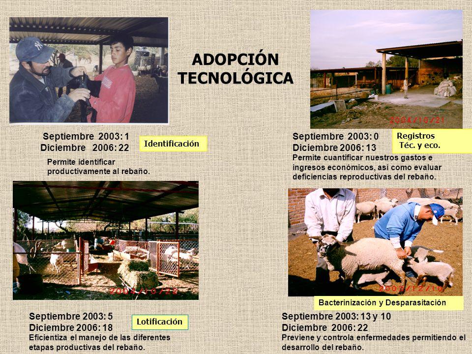 ADOPCIÓN TECNOLÓGICA Septiembre 2003: 1 Diciembre 2006: 22 Permite identificar productivamente al rebaño. Septiembre 2003: 0 Diciembre 2006: 13 Permit