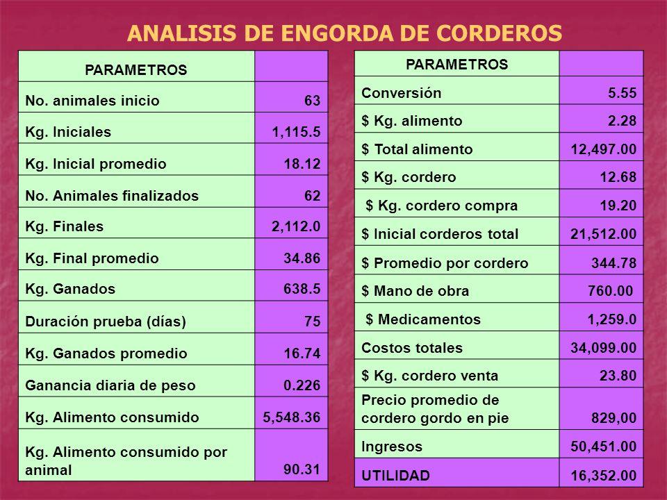 ANALISIS DE ENGORDA DE CORDEROS PARAMETROS No. animales inicio63 Kg. Iniciales1,115.5 Kg. Inicial promedio18.12 No. Animales finalizados62 Kg. Finales