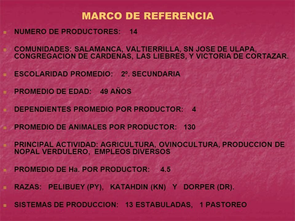 MARCO DE REFERENCIA NUMERO DE PRODUCTORES: 14 COMUNIDADES: SALAMANCA, VALTIERRILLA, SN JOSE DE ULAPA, CONGREGACION DE CARDENAS, LAS LIEBRES, Y VICTORIA DE CORTAZAR.
