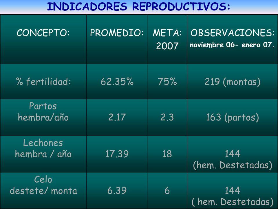 INDICADORES REPRODUCTIVOS: CONCEPTO: PROMEDIO: META: 2007 OBSERVACIONES: noviembre 06- enero 07. % fertilidad: 62.35% 75% 219 (montas) Partos hembra/a