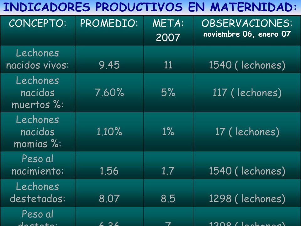 INDICADORES PRODUCTIVOS EN MATERNIDAD: CONCEPTO:PROMEDIO:META: 2007 OBSERVACIONES: noviembre 06, enero 07 Lechones nacidos vivos: 9.45 11 1540 ( lecho