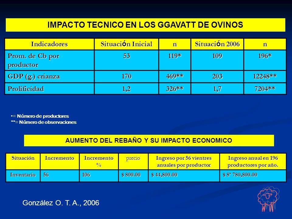 IMPACTO TECNICO EN LOS GGAVATT DE OVINOSIndicadores Situaci ó n Inicial n Situaci ó n 2006 n Prom. de Cb por productor 53119*109196* GDP (g.) crianza