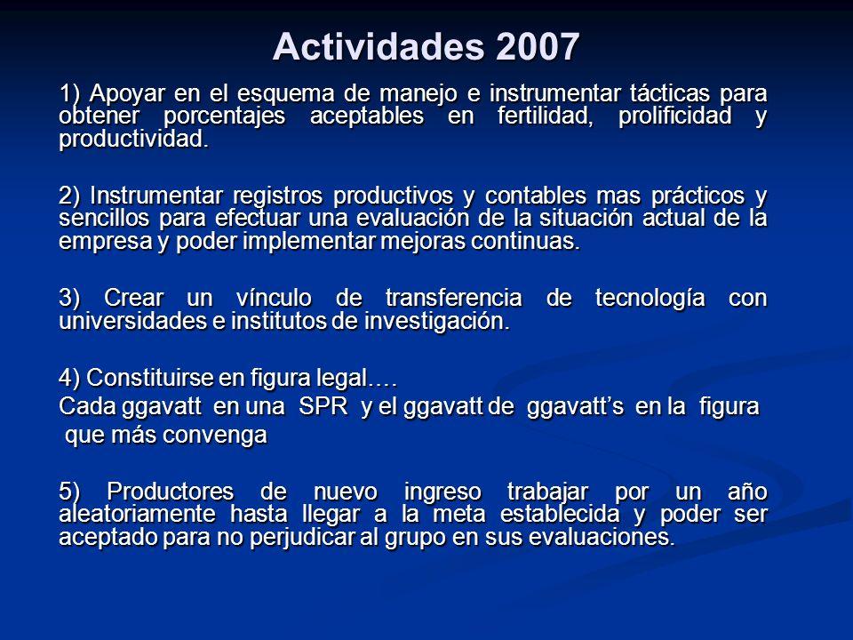 Actividades 2007 1) Apoyar en el esquema de manejo e instrumentar tácticas para obtener porcentajes aceptables en fertilidad, prolificidad y productiv