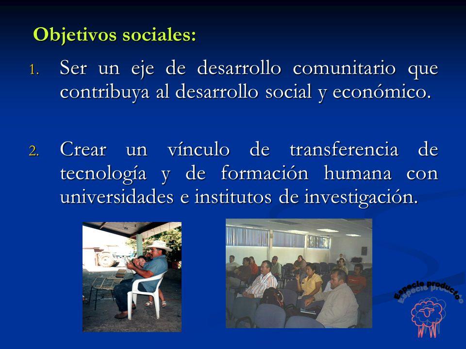 Objetivos sociales: 1. Ser un eje de desarrollo comunitario que contribuya al desarrollo social y económico. 2. Crear un vínculo de transferencia de t