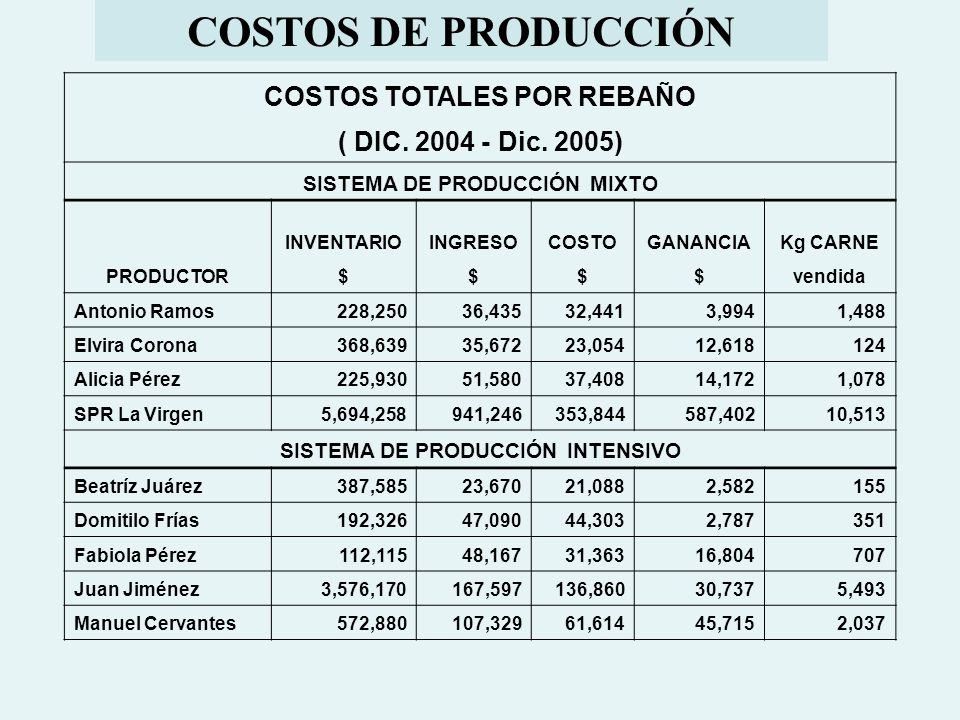 COSTOS DE PRODUCCIÓN COSTOS TOTALES POR REBAÑO ( DIC. 2004 - Dic. 2005) SISTEMA DE PRODUCCIÓN MIXTO PRODUCTOR INVENTARIOINGRESOCOSTOGANANCIAKg CARNE $