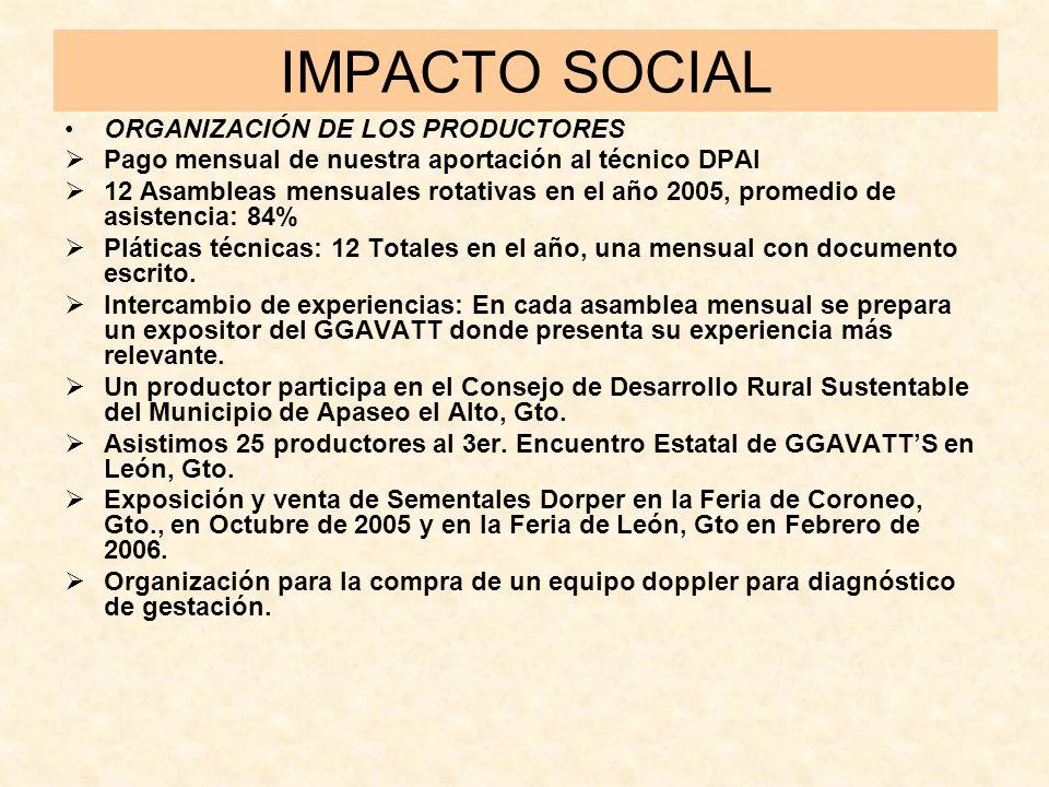 IMPACTO SOCIAL ORGANIZACIÓN DE LOS PRODUCTORES Pago mensual de nuestra aportación al técnico DPAI 12 Asambleas mensuales rotativas en el año 2005, pro