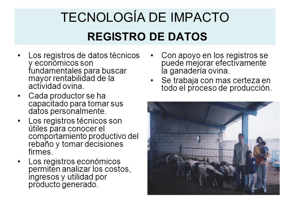 TECNOLOGÍA DE IMPACTO REGISTRO DE DATOS Los registros de datos técnicos y económicos son fundamentales para buscar mayor rentabilidad de la actividad